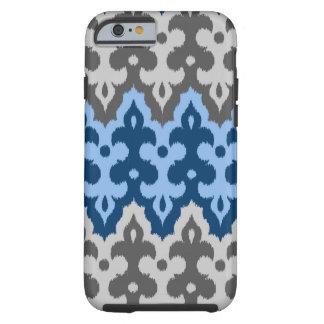 Damassé d'Ikat de Marocain, bleu et gris/gris Coque iPhone 6 Tough