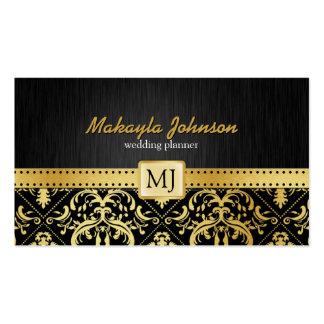 Damassé élégante de noir et d'or moderne et élégan modèles de cartes de visite