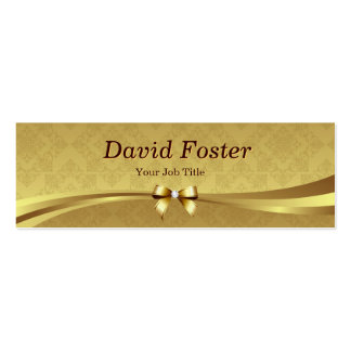 Damassé élégante d'or avec l'arc brillant de ruban carte de visite petit format