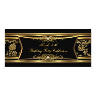 Damassé élégante d'or de noir de fête cartons d'invitation