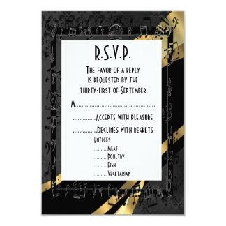 Damassé et or noirs R.S.V.P l'épousant formel Carton D'invitation 8,89 Cm X 12,70 Cm