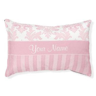 Damassé et rayures roses assez personnalisées lit pour chien