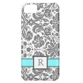 damassé florale d'Aqua gris fait sur commande du m Coques Pour iPhone 5C
