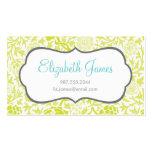 Damassé florale de vert de chaux rétro carte de visite
