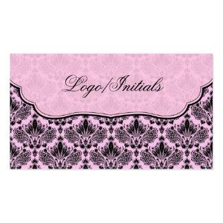 Damassé florale élégante de noir et de rose rétro modèles de cartes de visite