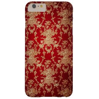 Damassé florale élégante de rouge et d'or coque barely there iPhone 6 plus