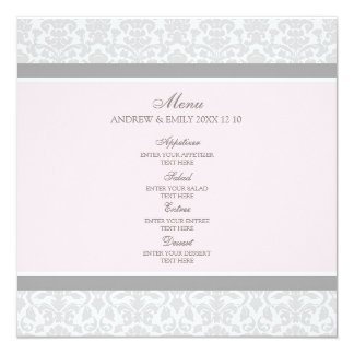 Damassé florale grise de rose de menu de mariage carton d'invitation  13,33 cm