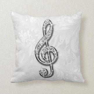 Damassé florale imprimée de note de musique de oreiller