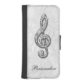 Damassé florale personnalisée de note de musique coque avec portefeuille pour iPhone 5