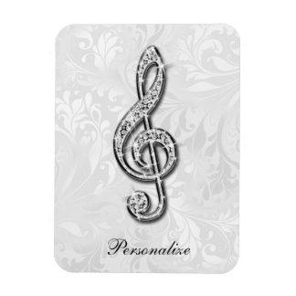 Damassé florale personnalisée de note de musique magnet rectangulaire avec photo