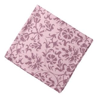 Damassé florale rose foncée sur le rose bandanas