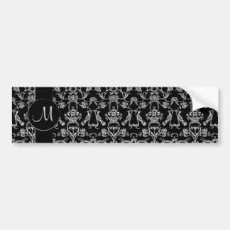 Damassé florentine vintage (monogramme) (blanc) adhésif pour voiture