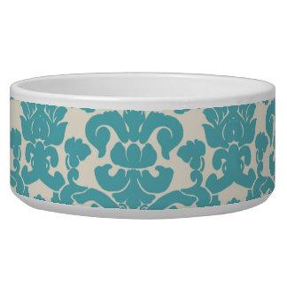 Damassé française, motif de damassé - blanc bleu bols pour chien