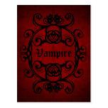 Damassé gothique élégante de vampire rouge et cartes postales