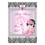 Damassé grise assez rose de baby shower de fille cartons d'invitation