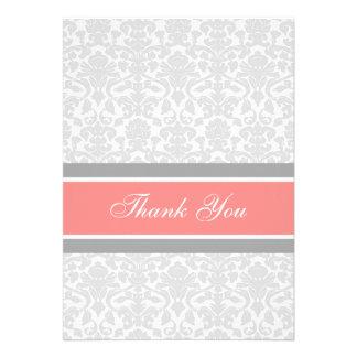 Damassé grise de corail de cartes de Merci de baby