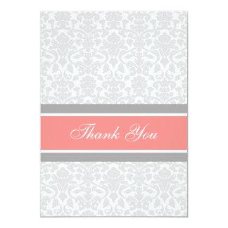 Damassé grise de corail de cartes de Merci de baby Carton D'invitation 12,7 Cm X 17,78 Cm