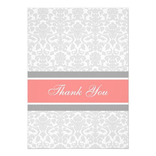 Damassé grise de corail de cartes de Merci de baby Invitations