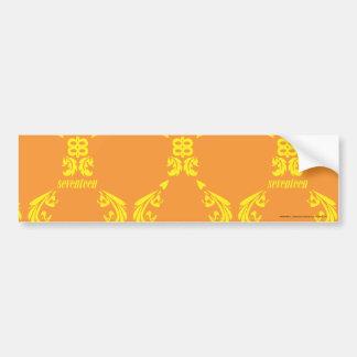 Damassé jaune-orange autocollant pour voiture
