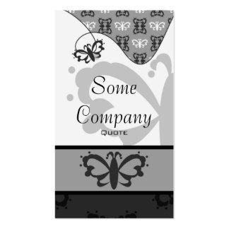 Damassé majestueuse de papillon (noire et blanche) cartes de visite personnelles