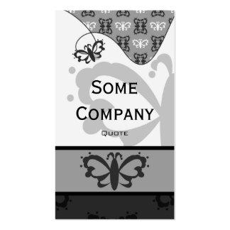 Damassé majestueuse de papillon (noire et blanche) modèles de cartes de visite
