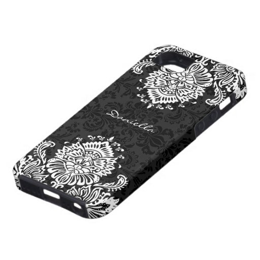 Damassé-Monogramme floral fleuri noir et blanc Étui iPhone 5