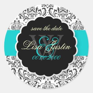 Damassé/noir de PixDezines Rossi+Bleu, couleur Autocollants Ronds