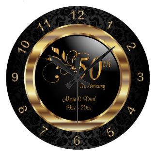 Damassé noire élégante - cinquantième anniversaire grande horloge ronde
