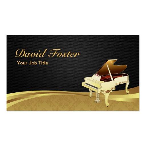 Damassé noire élégante d'or de pianiste de piano à cartes de visite personnelles
