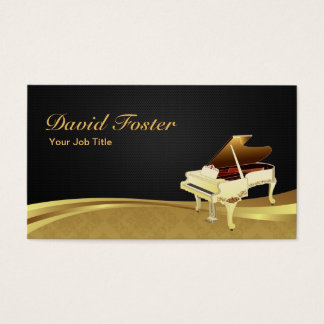 Damassé noire élégante d'or de pianiste de piano à cartes de visite