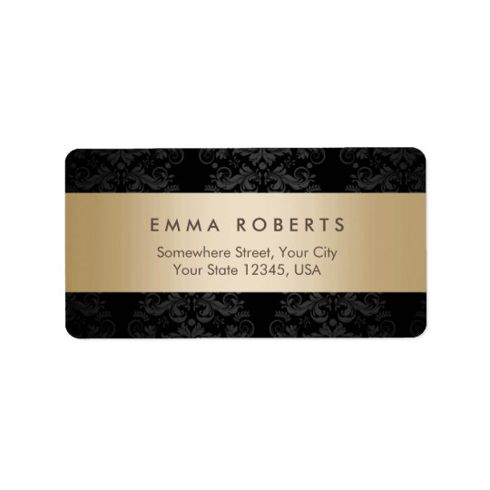 Damassé noire élégante rayée d'or moderne étiquette d'adresse