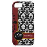 Damassé noire et blanche avec la frontière florale coques Case-Mate iPhone 5