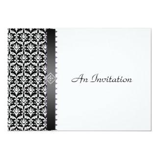 Damassé noire et blanche de réception de mariage carton d'invitation  12,7 cm x 17,78 cm
