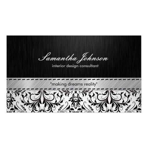 Damassé noire et blanche élégante professionnelle cartes de visite professionnelles