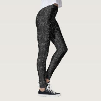 Damassé noire et grise leggings
