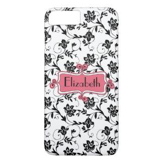 Damassé noire rose personnalisée coque iPhone 7 plus