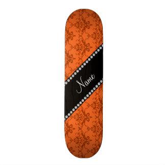 Damassé orange nommée personnalisée plateaux de skateboards customisés