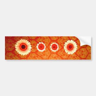 Damassé orange vintage et marguerites roses adhésifs pour voiture