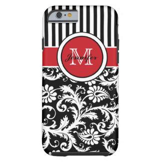 Damassé rayée blanche noire rouge de monogramme coque tough iPhone 6
