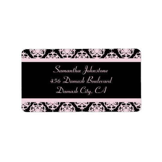 Damassé rose-clair sur le noir étiquettes d'adresse