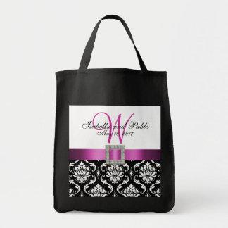 Damassé rose et noire personnalisée épousant le sacs en toile