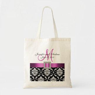 Damassé rose et noire personnalisée épousant le sac en toile
