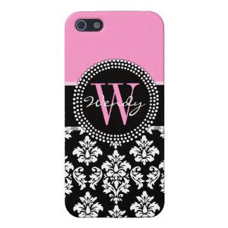 Damassé rose et noire votre initiale, votre nom iPhone 5 case