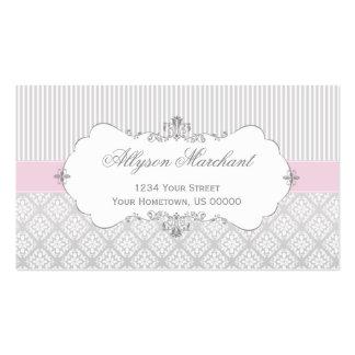 Damassé rose vintage élégante et rayures de blanc carte de visite standard