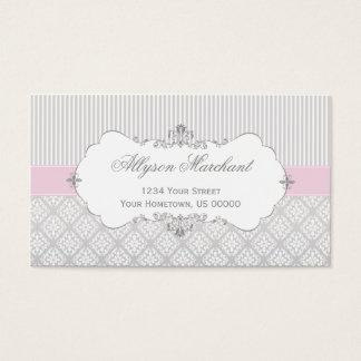 Damassé rose vintage élégante et rayures de blanc cartes de visite
