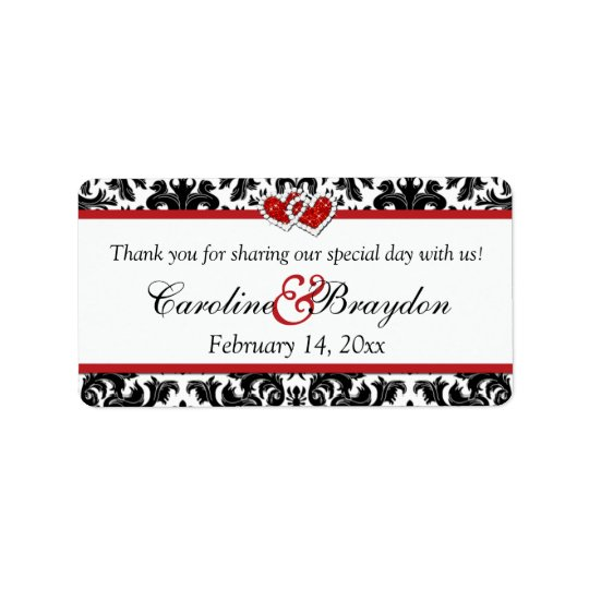Damassé rouge blanche noire, coeurs épousant étiquettes d'adresse