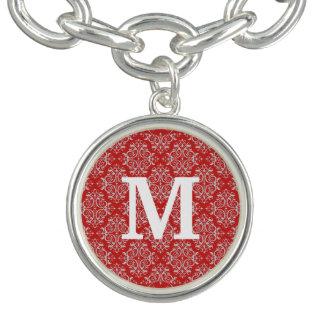 Damassé/rouge de monogramme bracelet avec breloques
