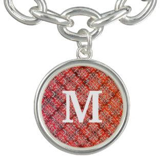 Damassé rouge de monogramme de flanelle bracelets