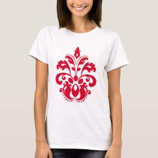 Damassé rouge de victorian d'élégance t-shirt