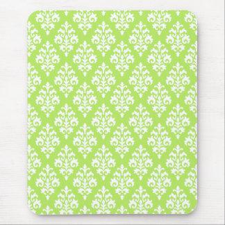 Damassé verte et blanche Chartreuse Mousepad Tapis De Souris